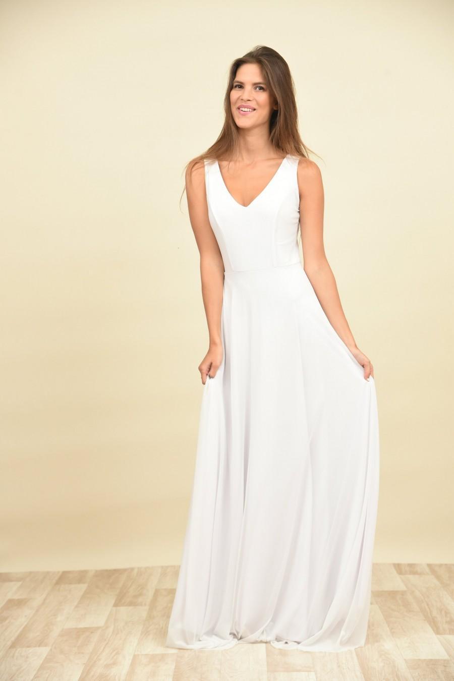 زفاف - Chiffon wedding dress, Simple wedding dress, Open back wedding dress, Maxi wedding dress, Bohemian bride, Moonflower Clean White