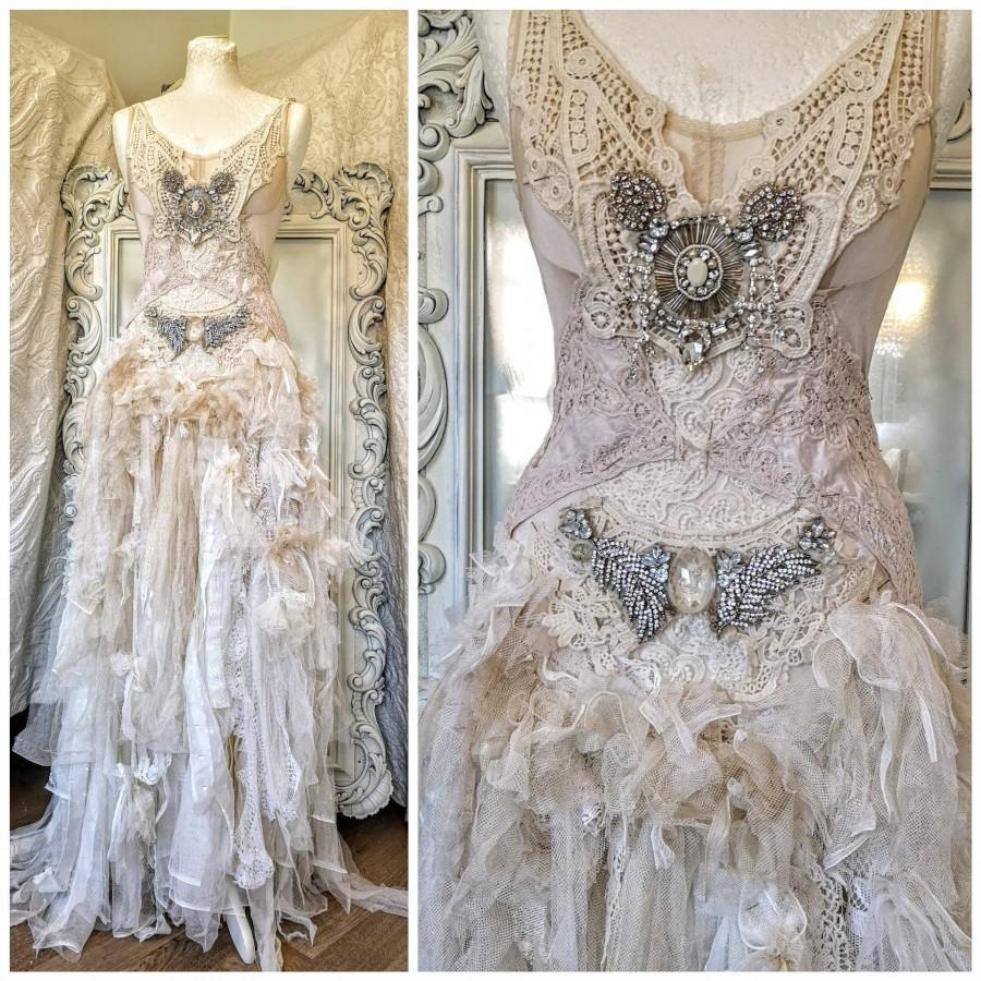 زفاف - Boho wedding dress tulle roses ,bridal gown lace,beach wedding dress rose ,antique french lace,rustic , Victorian wedding