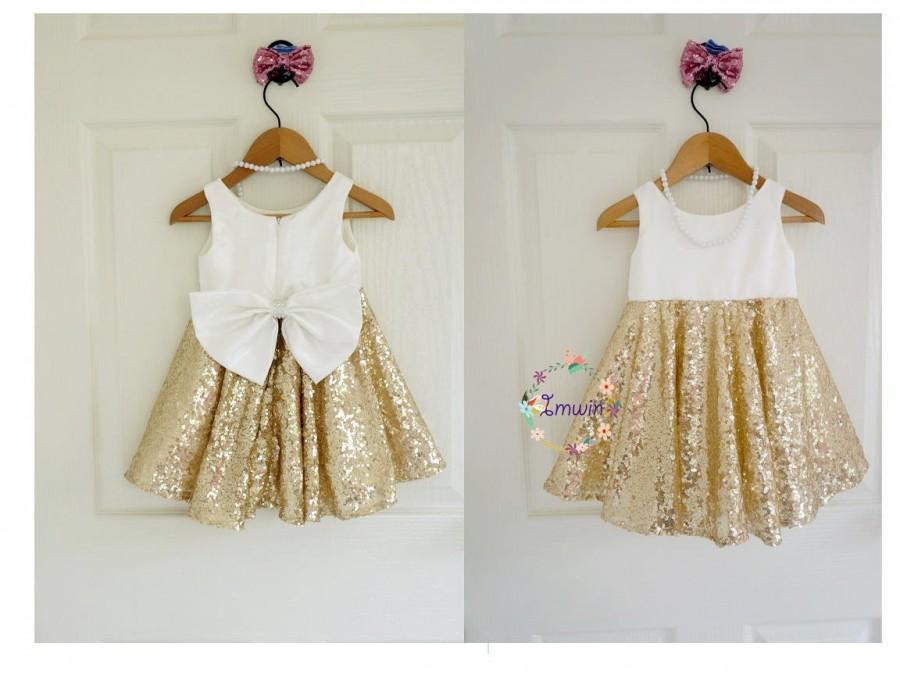 زفاف - Gold flower girl dress Ivory flower girl dress Girl special occasion dress Gold sequin dress Toddler flower girl dresses