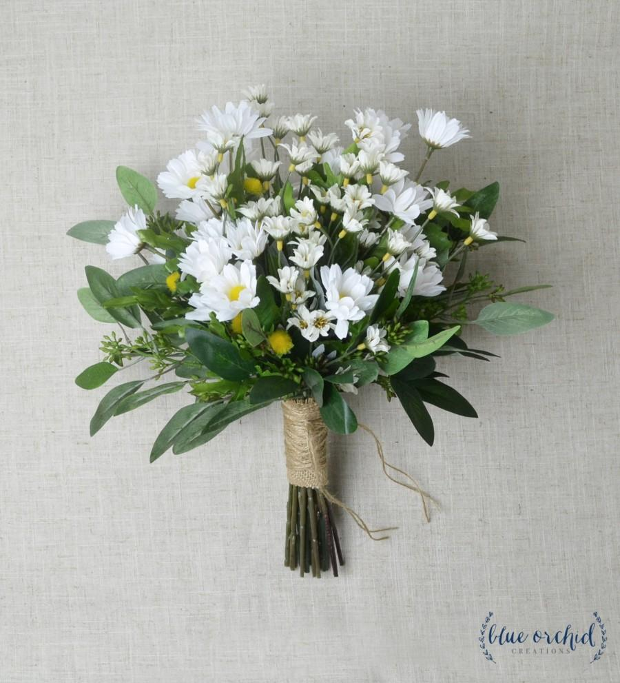 Hochzeit - Daisy Bouquet, Wedding Bouquet, Wildflower Bouquet, Wedding Flowers, Bridal Bouquet, White Daisies, Boho Bouquet, Boho Wedding, Wild Daisies