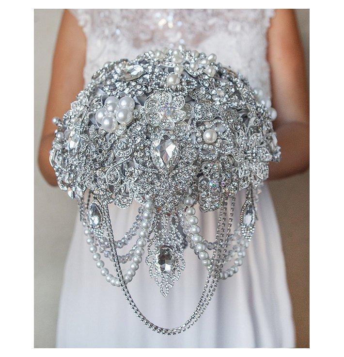 Wedding - Silver Crystal Brooch Bouquet Jeweled Rhinestones Bridal Wedding Bouquet Pearls Bridesmaid Broach Gatsby Luxurious Custom Brooch Bouquet