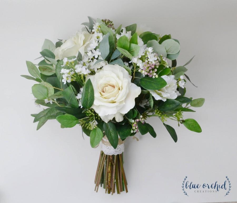 Hochzeit - wedding flowers, wedding bouquet, bridal bouquet, silk bouquet, eucalyptus bouquet, artificial bouquet, boho bouquet, ivory, white, green