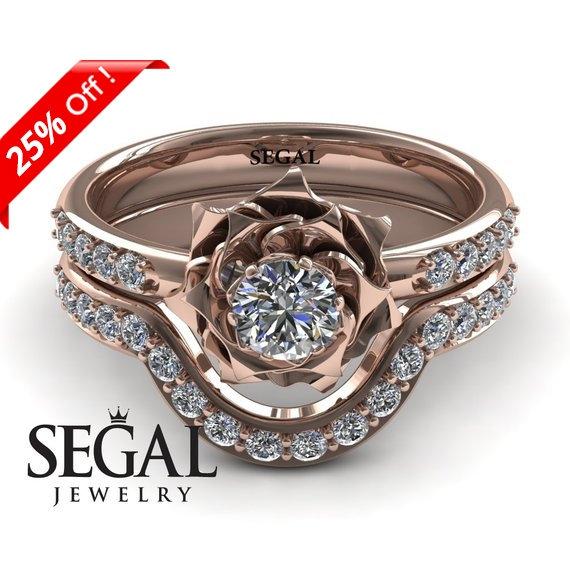 Wedding - Bridal Set Rose Gold Bridal Set Rose Gold Set Rose Engagement Ring Flower Ring Wedding Band Set Ring - Elena