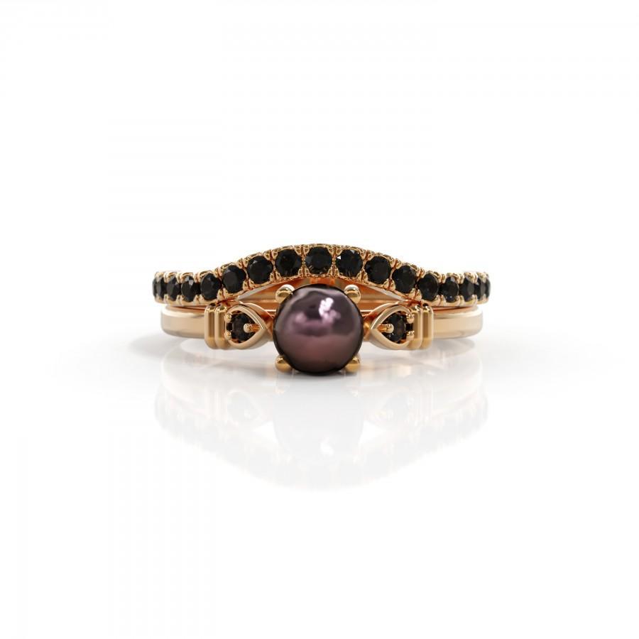 Mariage - Unique  black pearl engagement ring Set pearl diamond ring June birthstone 14k black Pearl ring gold Black pearl Matching Wedding Band Women