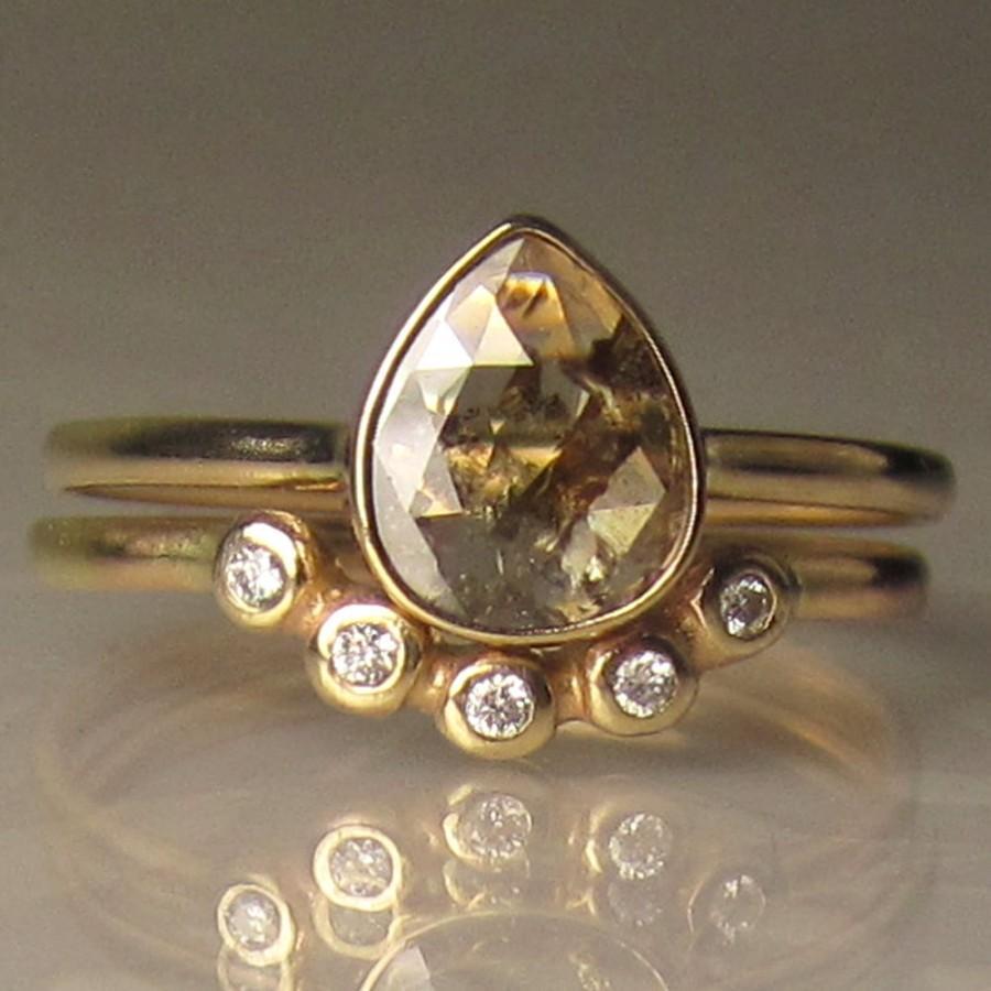 Mariage - Rose Cut Diamond Engagement Ring, Rose Cut Diamond Wedding Set, 14k Yellow Gold Rose Cut Diamond Ring