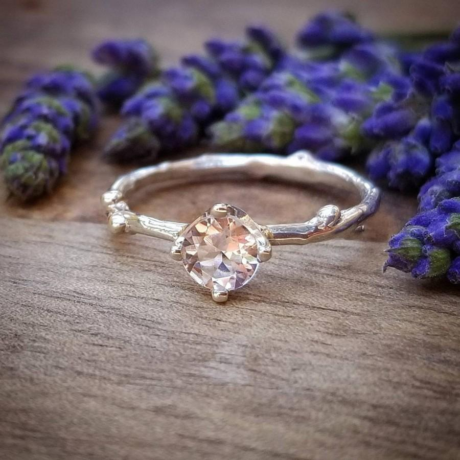 Wedding - Morganite Engagement Ring, Morganite Engagement Rings, Sterling Siilver Morganite Wedding Ring, Silver Wedding Rings, Twig Engagement Ring