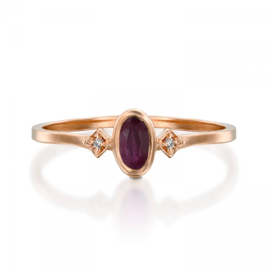 Свадьба - ruby ring rose gold, oval ruby ring, dainty ruby ring, July birthstone ring, red gemstone ring, ruby 14k gold ring, ruby diamond ring, Gift