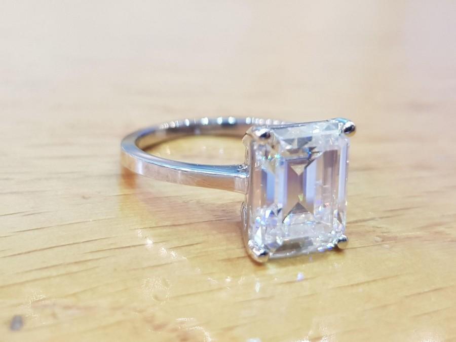 Mariage - 3 1/2 Carat Moissanite Engagement Ring Forever One Charles Colvard