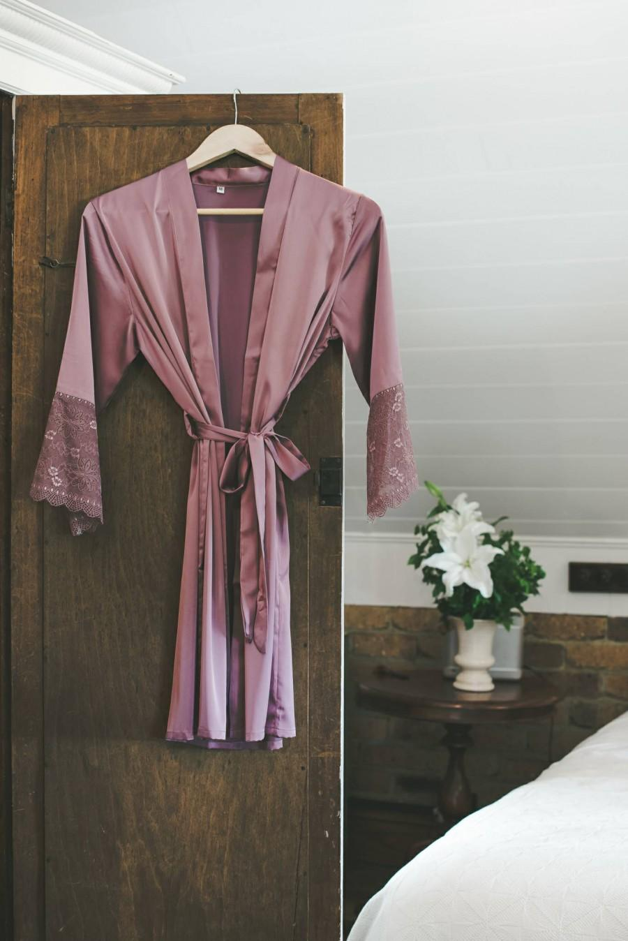 Mariage - Bridesmaid Satin and Lace Bridal Robe Peony Purple
