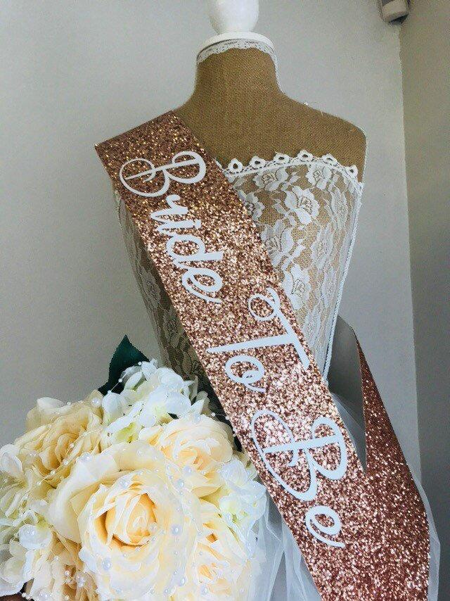 Mariage - ROSE GOLD Glitter Sash - Hen Party Sash- Bachelorette Party-Bride to be Rose Gold sash