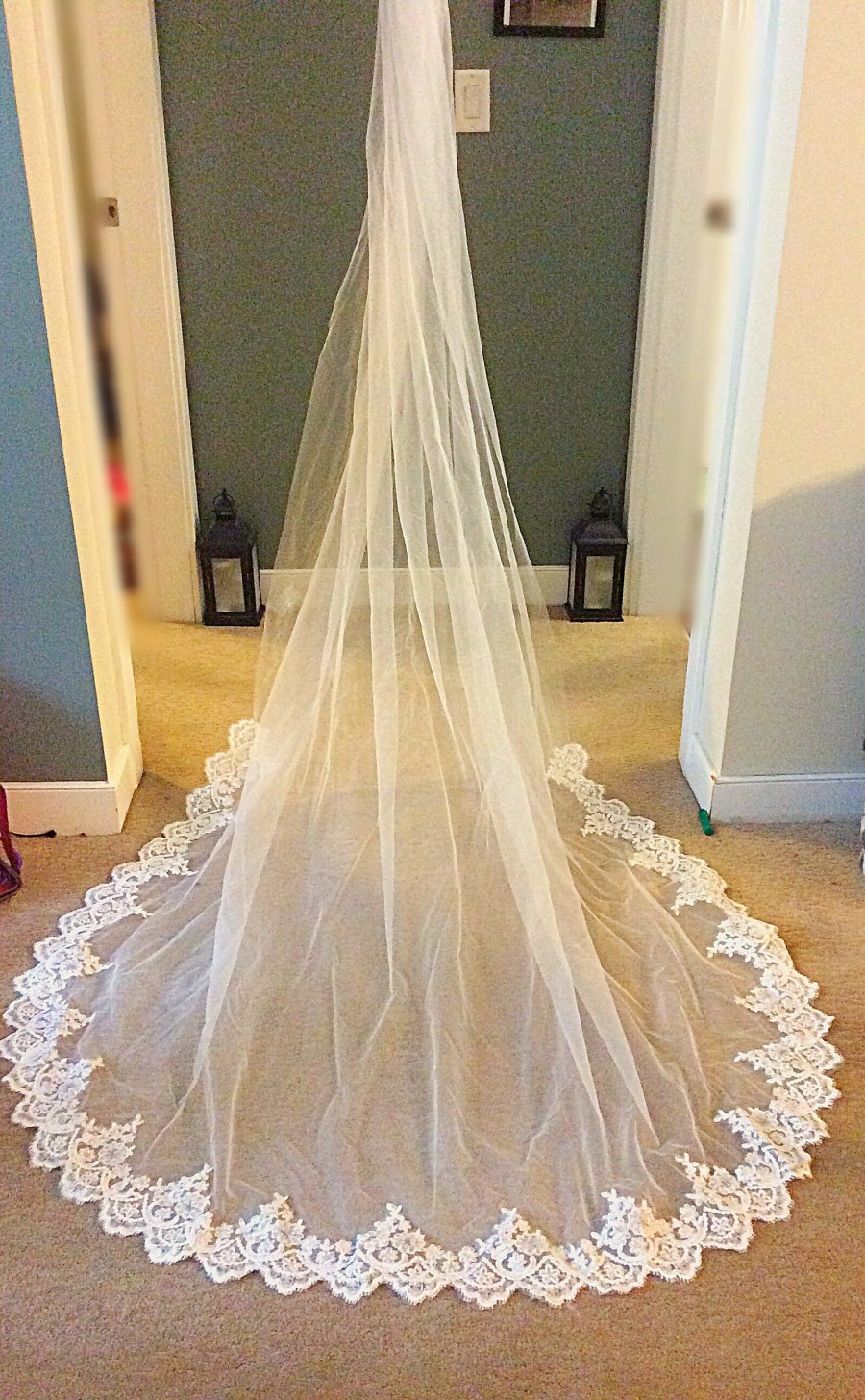 Wedding - Cathedral Length Veil. With Lace and sequin detailing