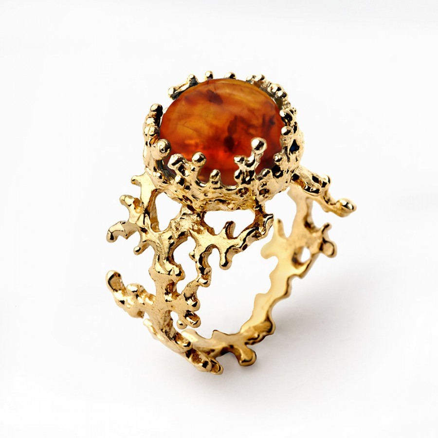 Mariage - CORAL Baltic Amber Ring,  Amber Engagement Ring, Statement Ring, Gold Amber Ring, Gold Gemstone Ring, Natural Amber Ring, Unique Gold Ring