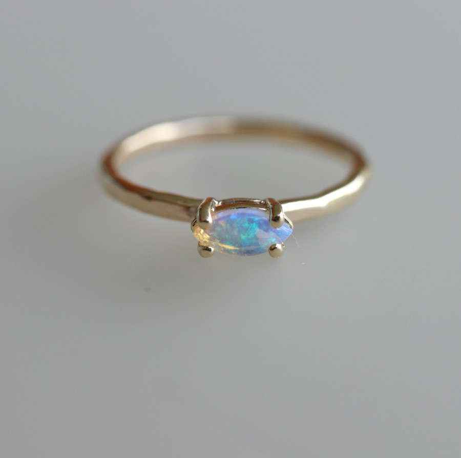 Wedding - Marquise Opal Engagement Ring, October Birthstone