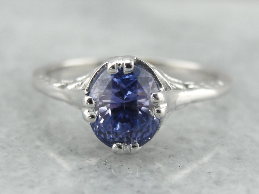 Wedding - Floral Filigree Engagement Ring, Sapphire Solitaire, Lilac Sapphire  XD9YUV-N