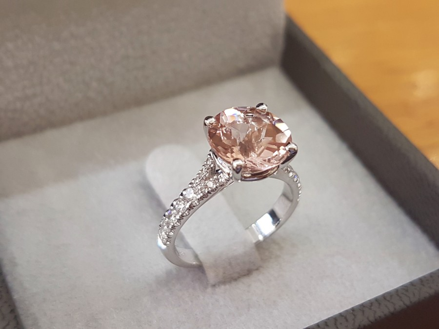 Wedding - 3 Carat Pink Morganite Engagement Ring 14k White Gold Diamonds Morganite Ring