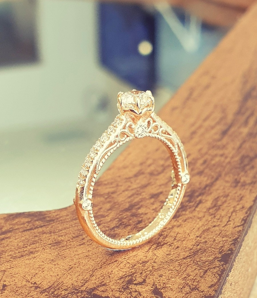 Wedding - Antique Engagement Ring Victorian White Diamond 14K Yellow Gold, Vintage Engagement Ring Hand Engraved Milgrain Band