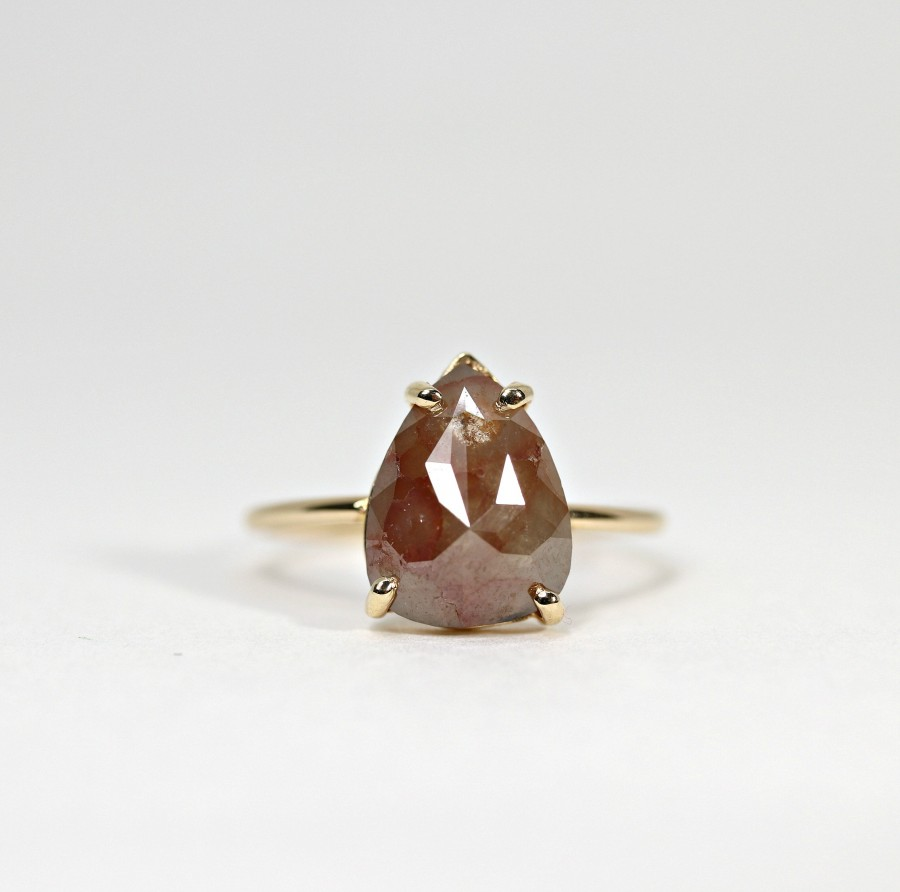 Wedding - Rose Cut Pear Diamond Ring, Unique Engagement Ring, 14k Yellow Gold Diamond Ring, Handmade Diamond Wedding Ring