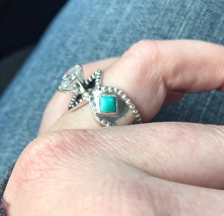 Mariage - Diamond and turquoise ring sterling silver. Wedding, engagement, promise, valentines.