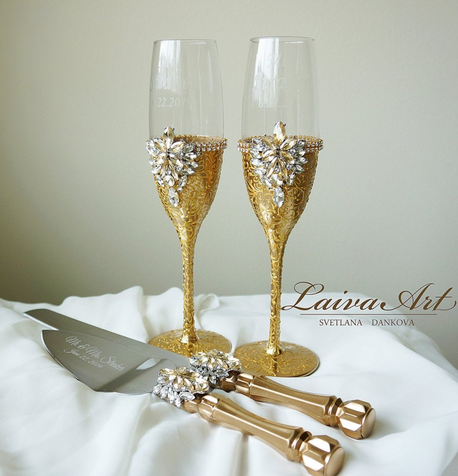 Gold Wedding Glasses Wedding Champagne Glasses Wedding Toasting
