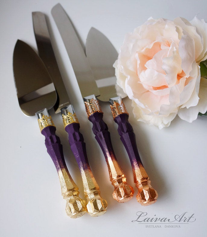 Wedding - Cake Server Set & Knife Purple and Gold Cake Cutting Set Wedding Cake Knife Set Wedding Cake Servers Wedding Cake Cutter Cake Decoration