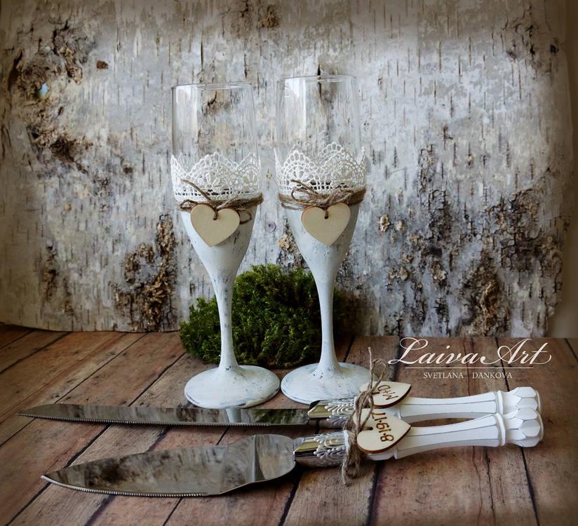 Wedding - Rustic Wedding Champagne Flutes Rustic Wedding Champagne Glasses Wedding Toasting Flutes Wedding