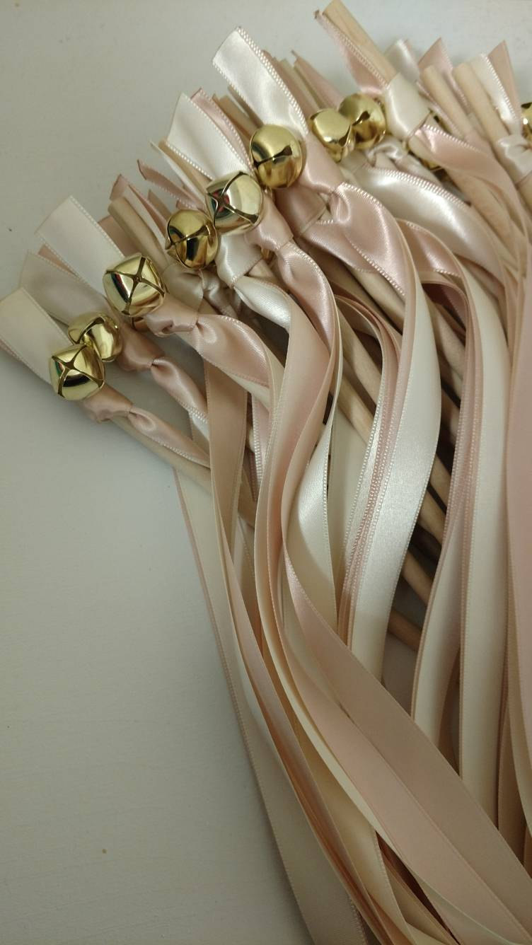 Wedding - 25 Ribbon Wands - Blush and Ivory w/ Gold Bell- Wedding-Celebration - After The Kiss - Customize- Parties- Fast Shipping