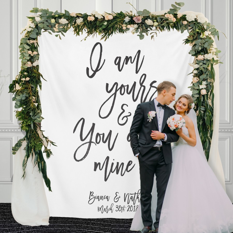 Mariage - Custom Wedding Backdrop, Wedding Reception Calligraphy Backdrop, Wedding Tapestry Backdrop,Wedding Reception Banner / W-A104-TP AA3