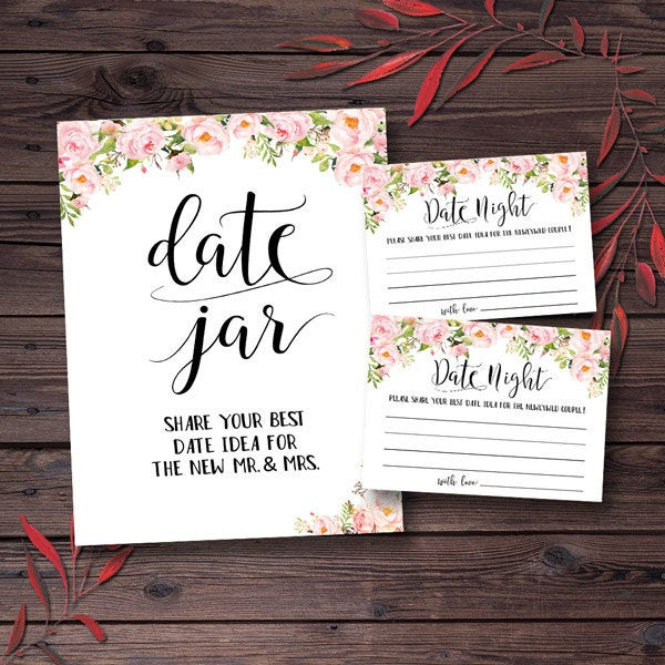 Wedding - Bridal Shower Games Date Jar Bridal Shower Date Night Ideas for the New Couple Printable Bride and Groom New Mr. and Mrs. Pink Floral mxv27