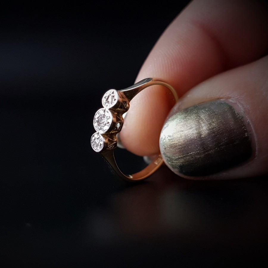 Hochzeit - SALE  18ct Gold Platinum Art Deco Half Hoop 3 Diamonds Trilogy Edwardian Engagement Ring c.1910 by Harriet Smamuel US 6 - UK L Gallery SW19