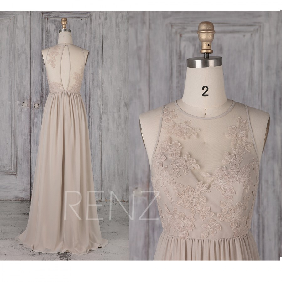 Wedding - Bridesmaid Dress Cream Chiffon Wedding Dress Illusion Lace Round Neck Maxi Dress Sleeveless Key Hole Back A-Line Sleeveless Prom Dress(L481)