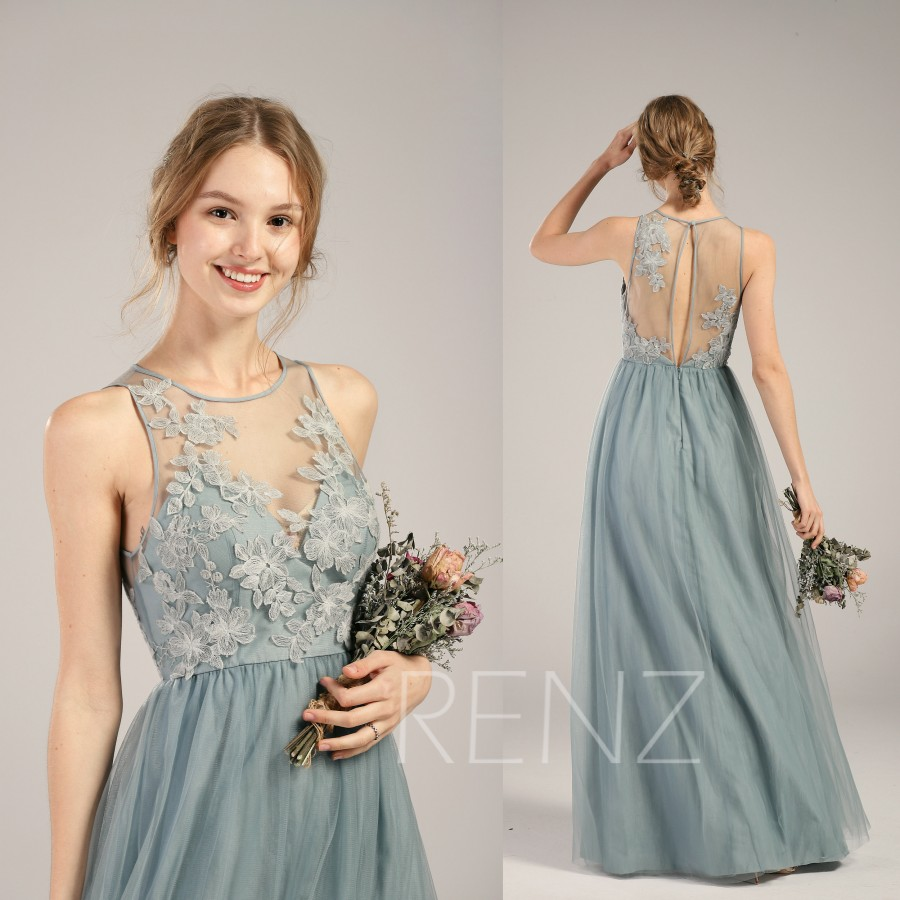 Wedding - Prom Dress Dusty Blue Tulle Bridesmaid Dress Boat Neck Party Dress Illusion Lace Key Hole Back A-Line Maxi Dress Long Wedding Dress(LS351)