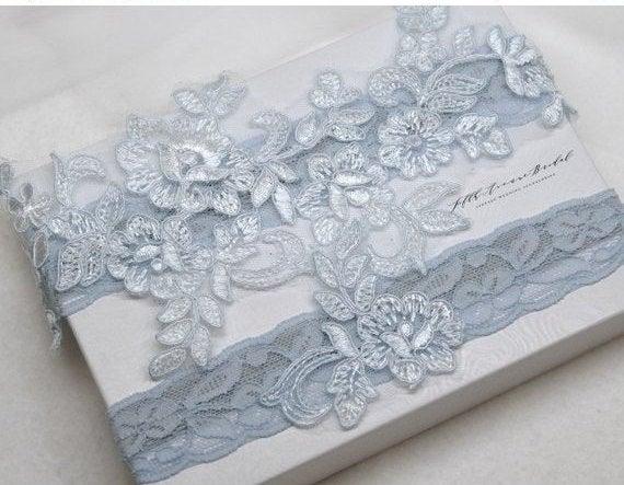 Mariage - Something blue bridal garter, wedding garter, bride garter,  dusty blue lace garter, smoke blue lace garter, vintage lace garter AS4