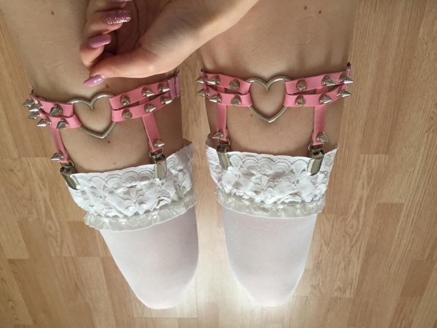 Свадьба - Pair Of Heart & Spike Garters, sexy lingerie, exotic dancewear, garter set, punk garter, leather lingerie, bdsm-gear for women, bdsm