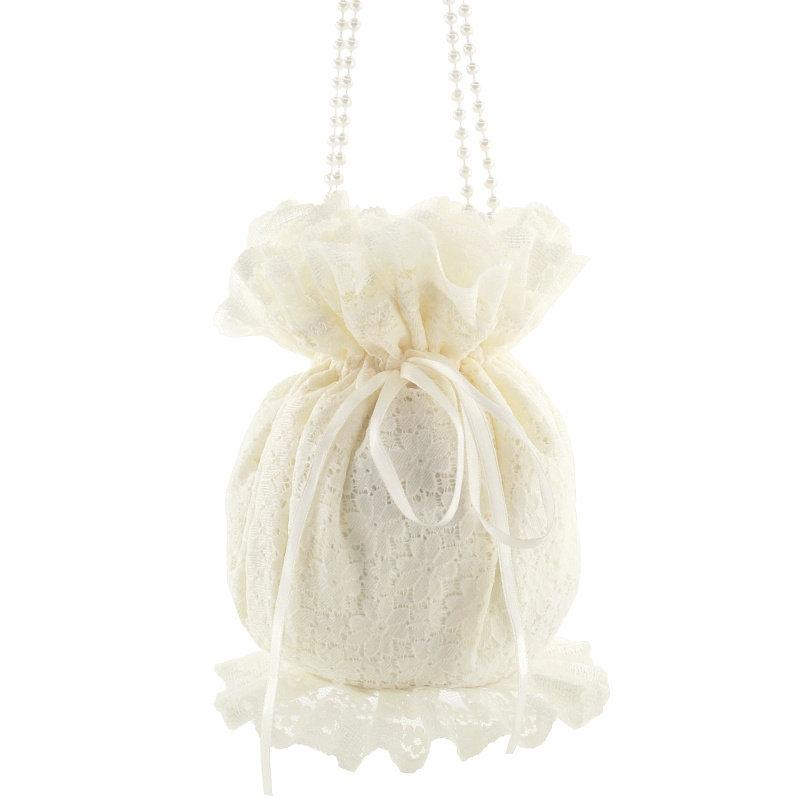 Hochzeit - wristlet purse ivory clutch bride bag bridal bag wedding clutch bag clutch bag  satin lace bride wedding pompadour bag victorian ivory 1555
