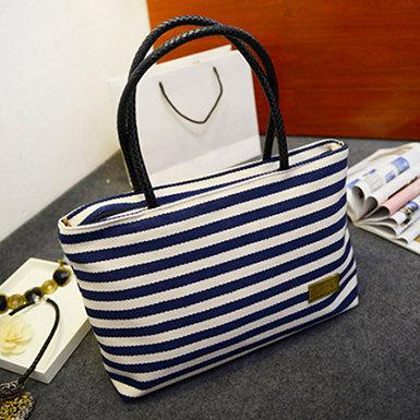 Mariage - Women's Canvas Horizontally Striped Double Robe Handled Beach Tote Bag