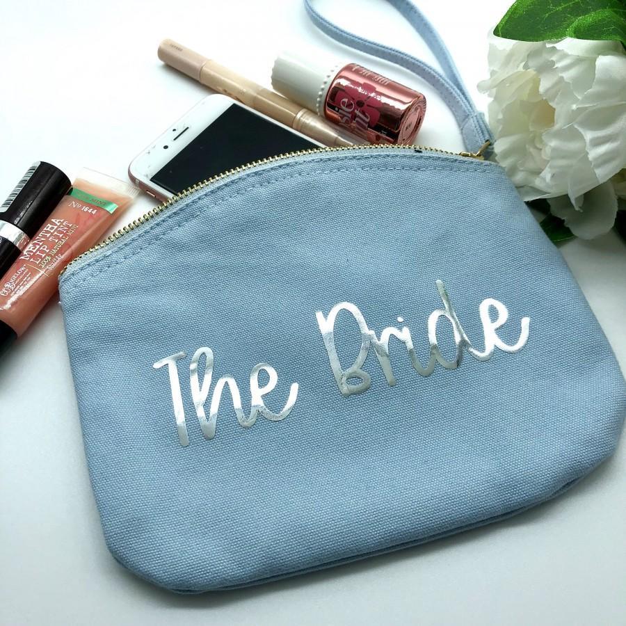 Wedding - Bride Clutch Bag, Canvas Blue Bride Bag, Bridal Handbag, Personalised Bride Clutch Bag, Something Blue,
