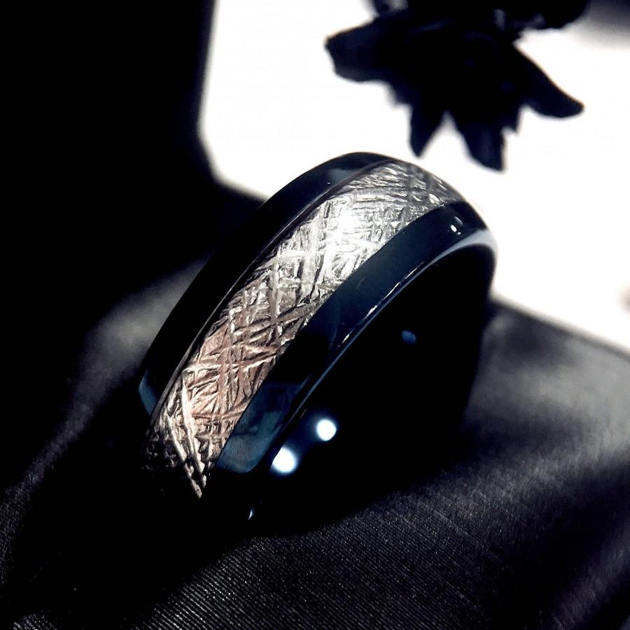 Wedding - Blue Tungsten Wedding Bands, Meteorite Rings, Men's Tungsten Ring, Women Tungsten Ring, Matching Tungsten Rings, His Her Promise Ring, Band