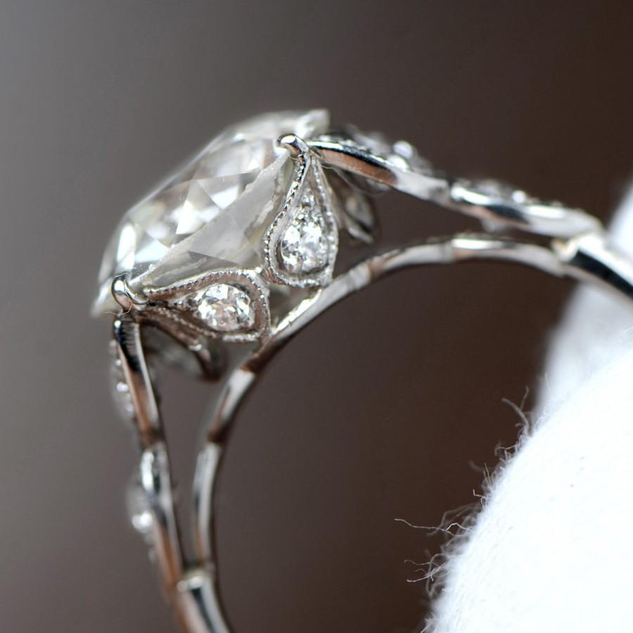 Wedding - Rare 3.63 Carat Leaf-Motif Diamond Engagement Ring - Old European-Cut Antique- Circa 1920