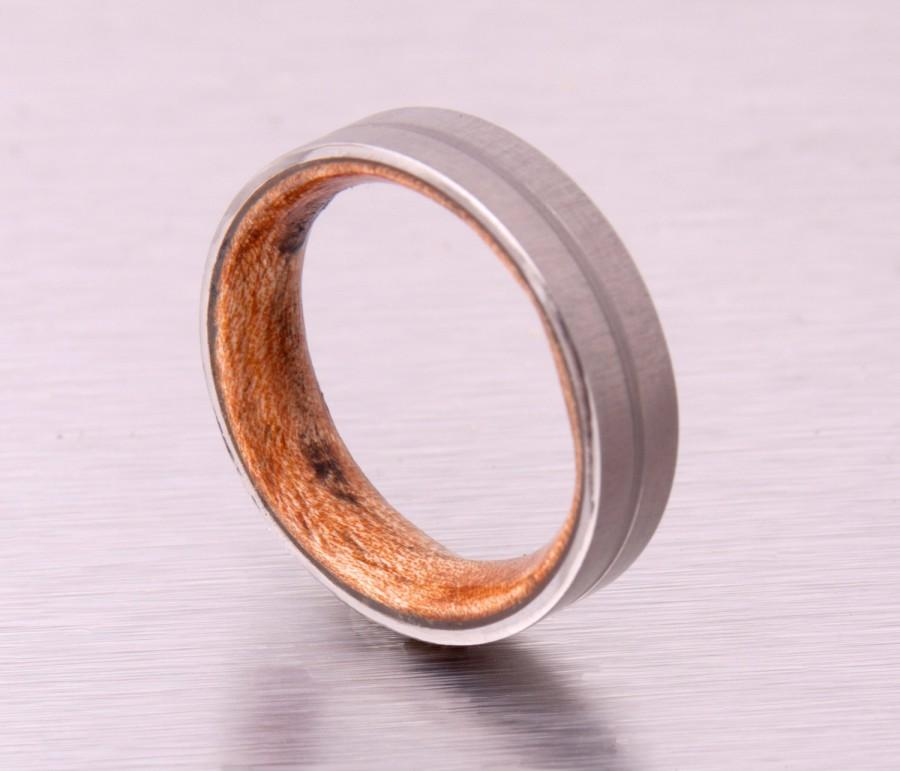 Wedding - wood wedding ring flat band lined titanium wooden band for man and woman engagement wedding band size 3 to 16 brushed