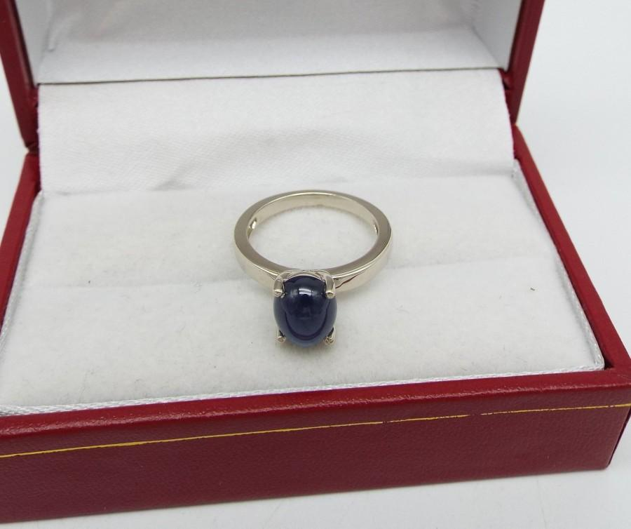 Wedding - 14K White Gold with 3.54CT Cabochon Sapphire Engagement Ring l Antique l Vintage l