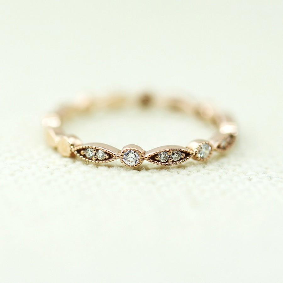 Mariage - Art Deco Diamond Wedding Ring, Vintage Diamond Wedding Band, Art Deco Diamond Half Eternity Band, Art Deco Diamond Ring, Engagement Ring