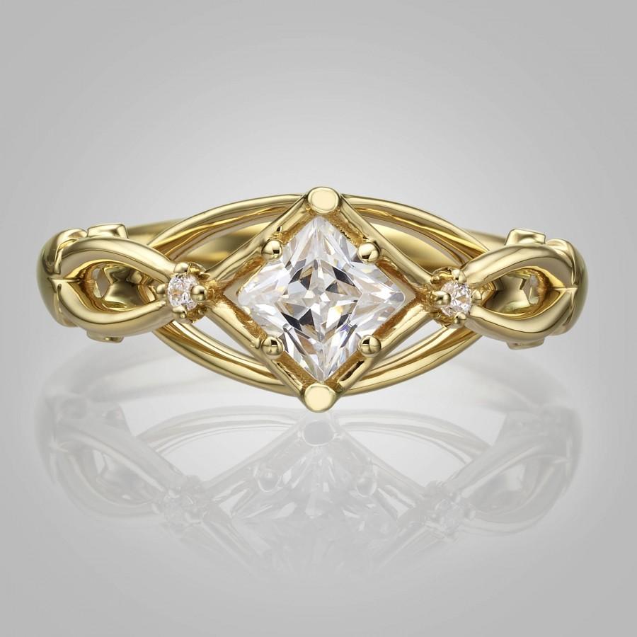 Свадьба - Celtic Engagement Ring, Princess Cut Diamond engagement ring, Square diamond ring, unique engagement ring, Knot ring, solitaire ring, ENG9
