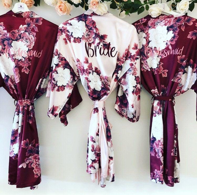 Wedding - BLOSSOM Silk personalised bridal robes, satin floral bridesmaid robe in burgundy, navy blush or champagne