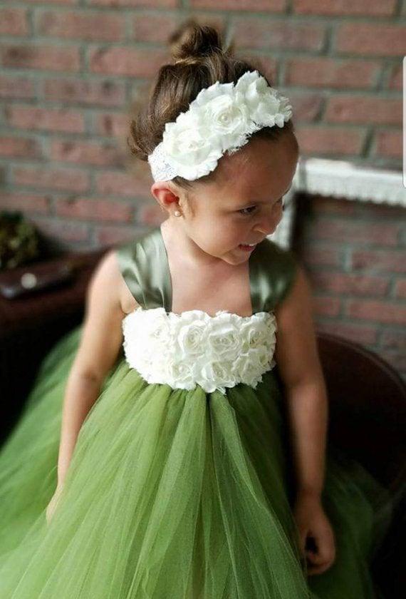 Mariage - Olive flower girl dress,moss green flower girl dress tutu dress,vintage flower girl dress,rustic flower girl dress, green dress,Easter Dress