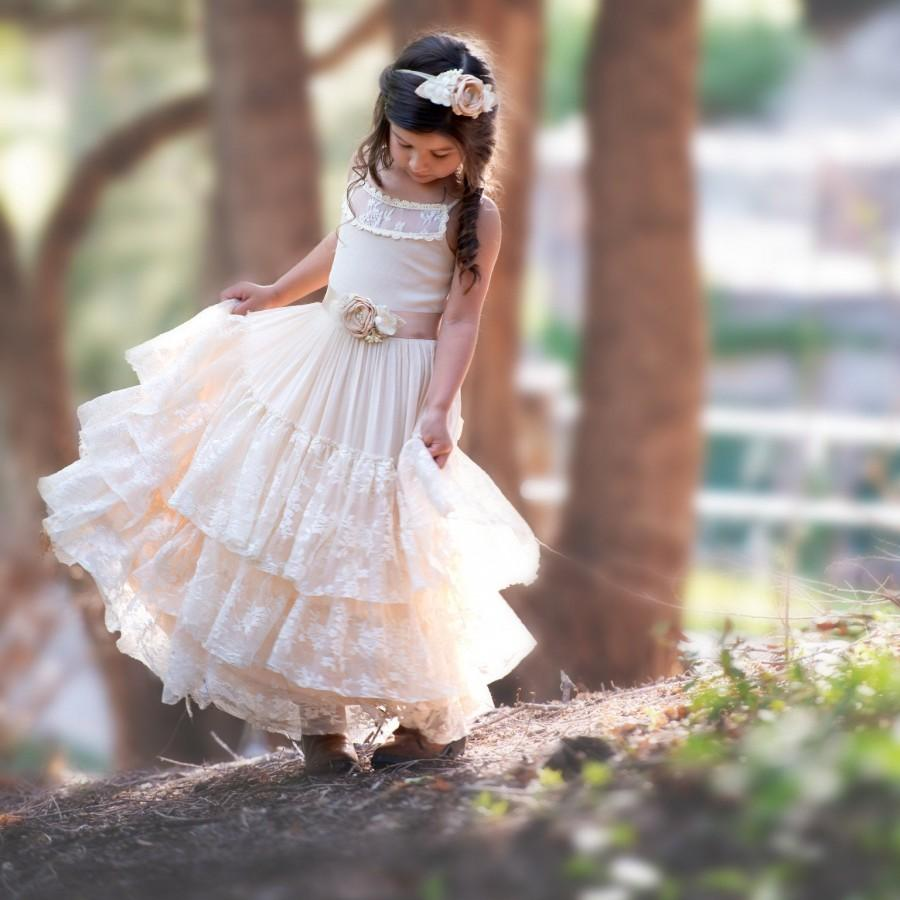 Wedding - Champagne Flower Girl Dress, Lace Flower girl dresses, Rustic Flower girl dress, boho flower girl dress, beach wedding flower girl dress,