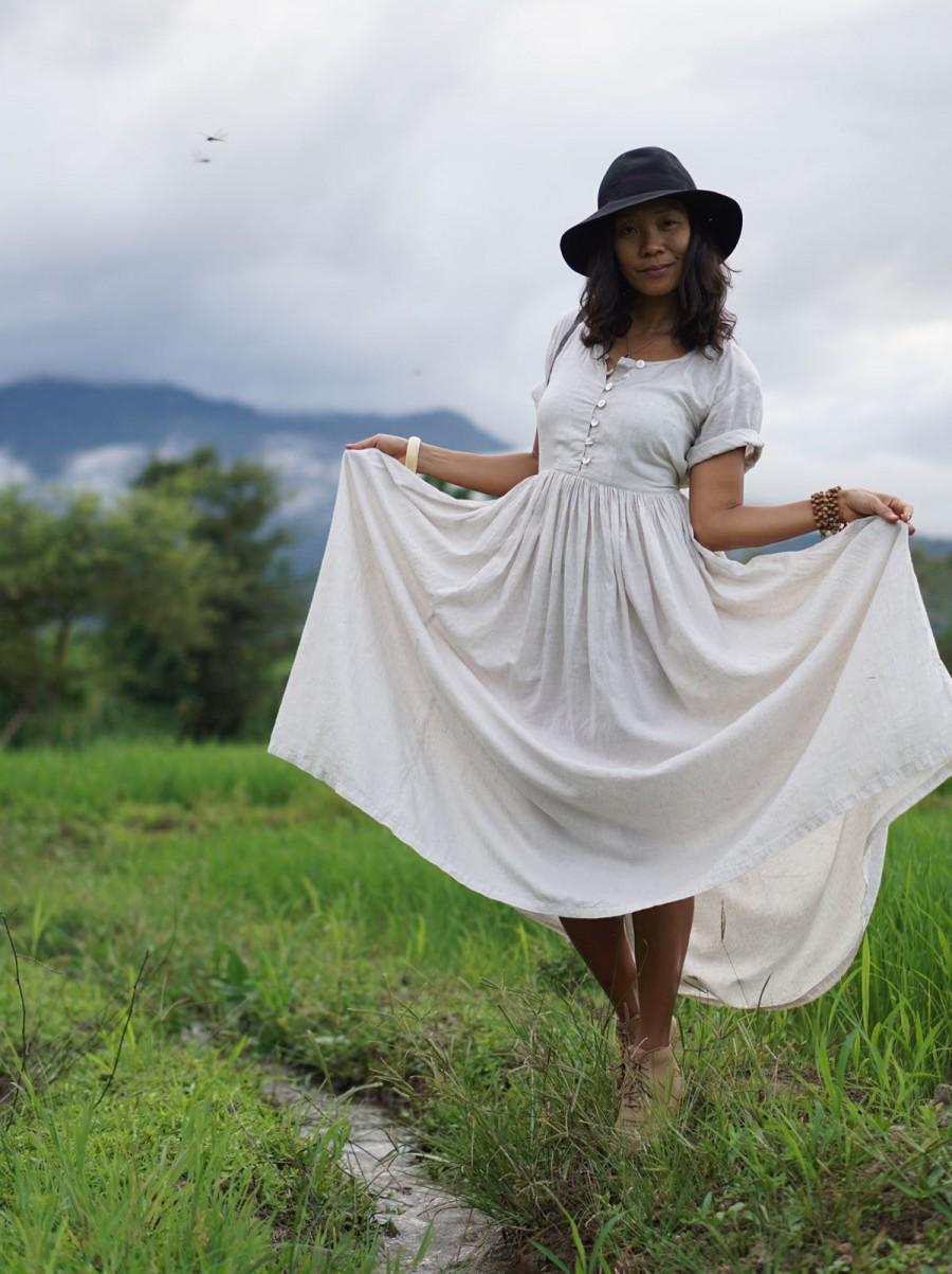 Mariage - boho wedding dress, Tencel dress, long  circle dress, Boho linen dress, white boho dress, summer maxi dress, eco long dress, kundalini dress