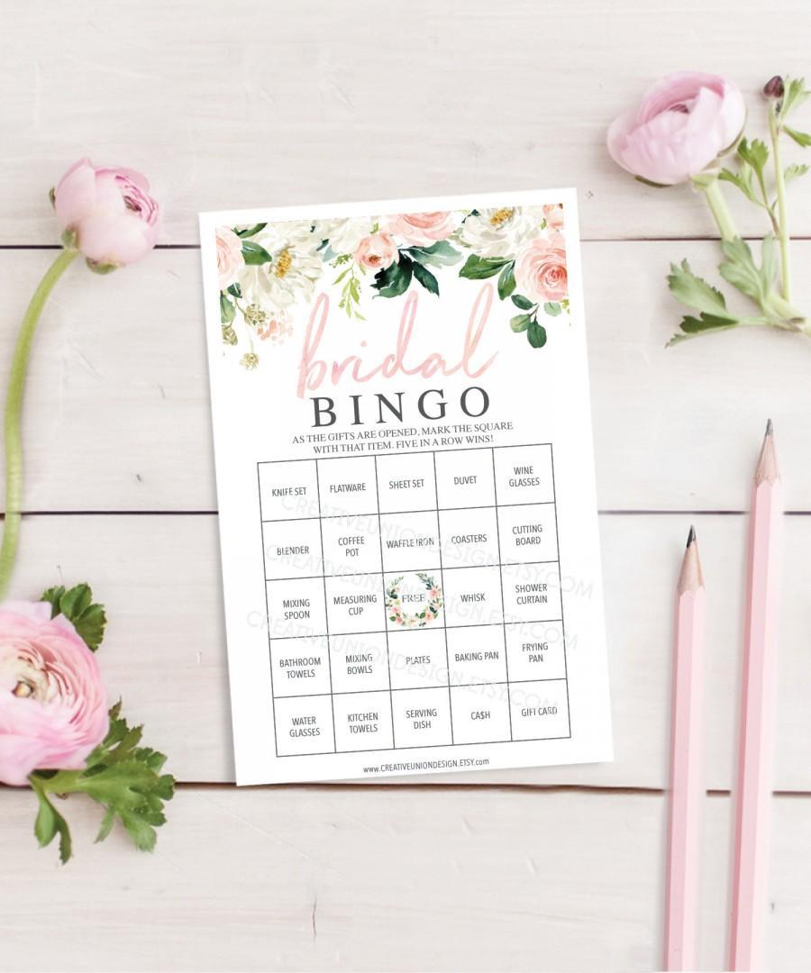 Wedding - Bridal Shower Bingo Game - 60 Unique Game Sheets - Wedding Shower Game - Shower Bingo - Airy Blush - Bridal Bingo - Instant Download