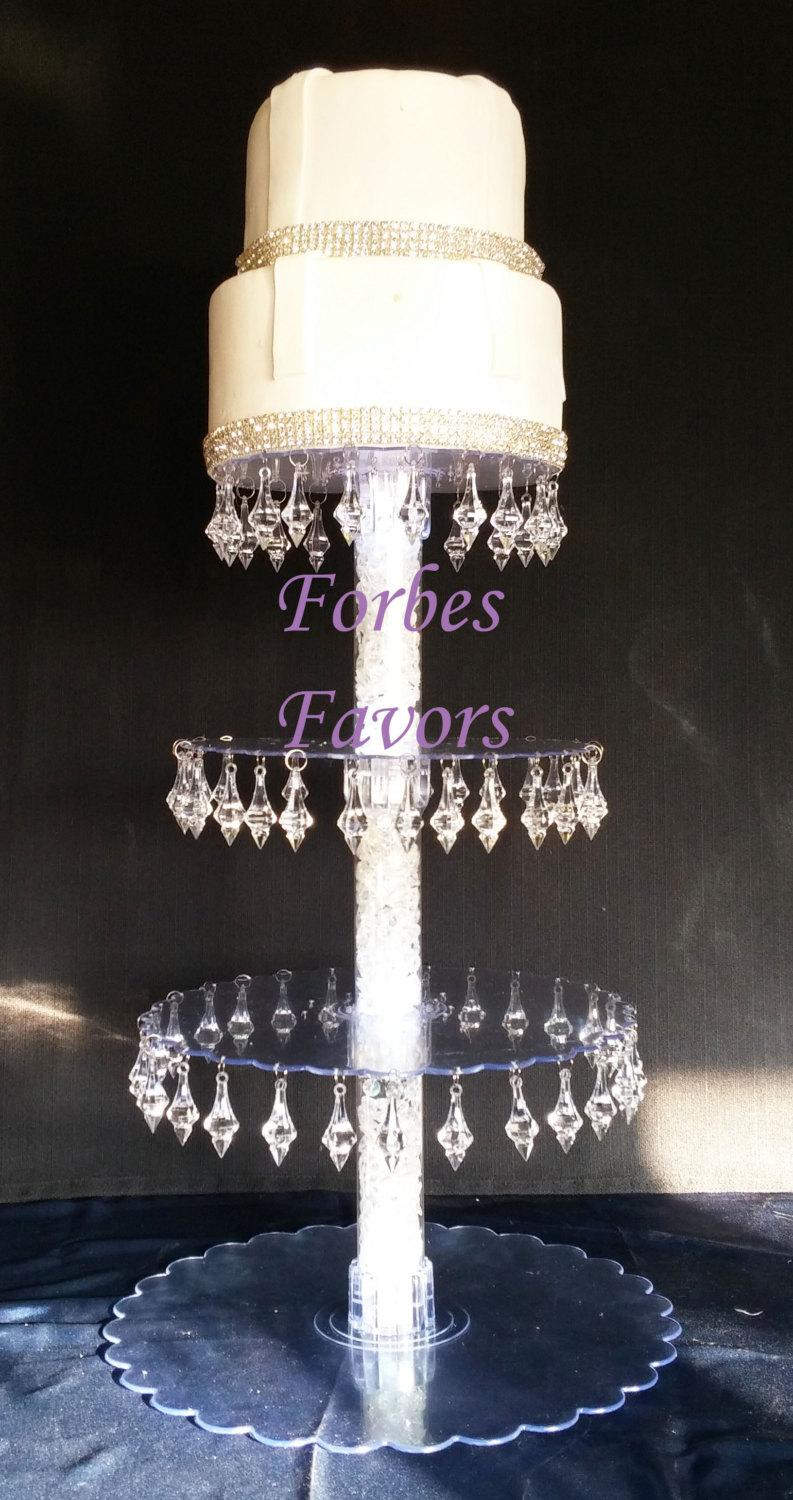 Wedding - Gorgeous Crystal Prism 4 Tier Cupcake Tower Stand Wedding and Events Dessert Tower with LED Lights