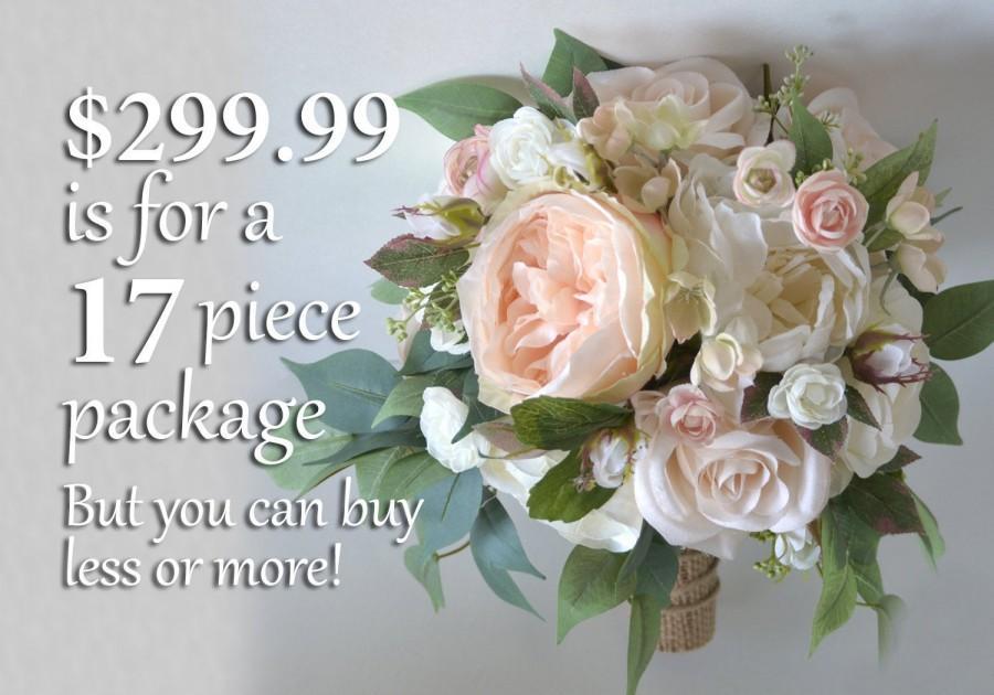 Свадьба - Wedding Bouquets, Bridal Bouquets, Bridesmaid Bouquets, Silk Flower Bouquets, Wedding Flowers, peach, blush, pink, burlap, Lily of Angeles