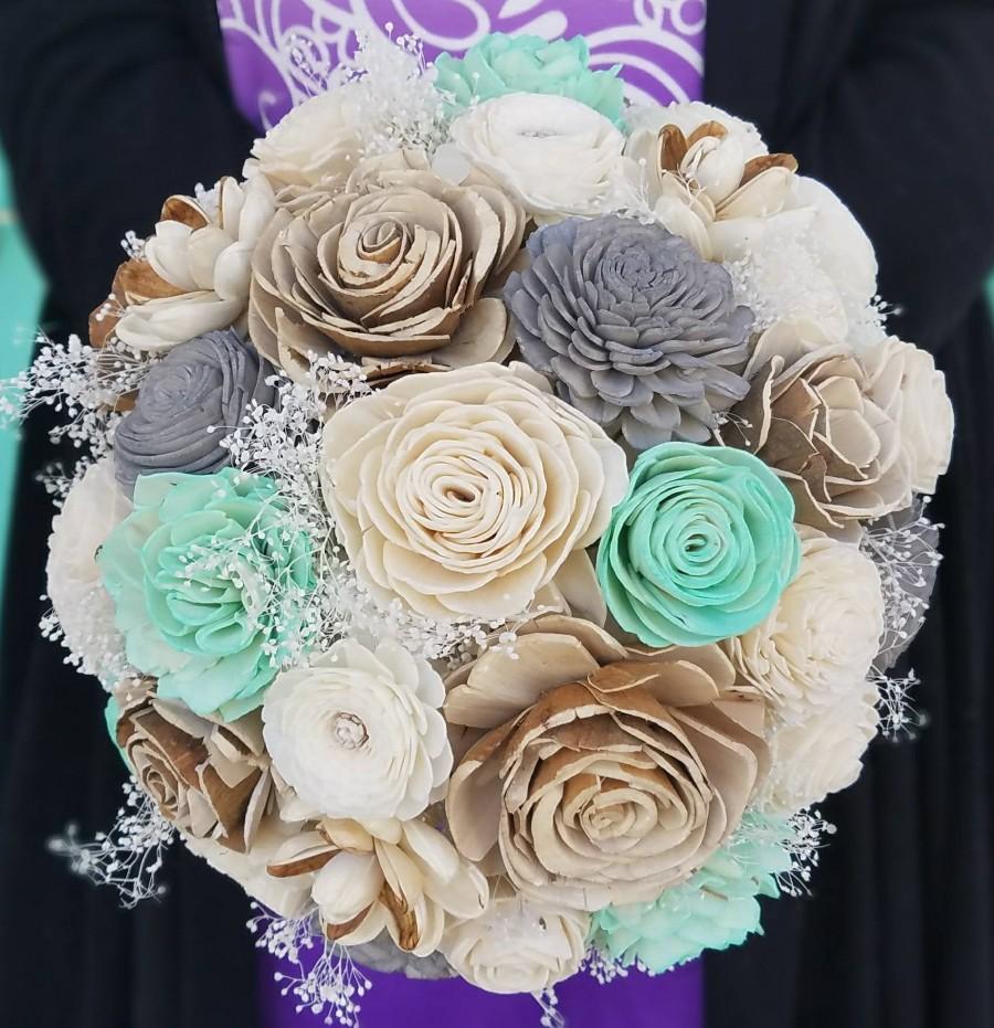 Wedding - Wooden flower bouquet,  mint and grey,  wedding flowers,  sola wood flowers,  beach wedding,  bark flower,  bride bouquet, wedding flowers